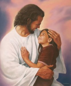 Jesus with young girl smiling